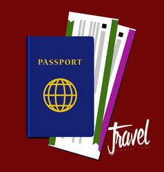 passport and airplane tickets icon travel concept vector image