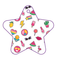 Patches in star pattern fashion decoration vector