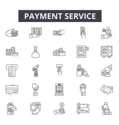 payment service line icons signs set vector image