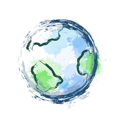 planet earth with watercolor vector image