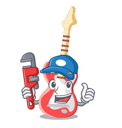 Plumber electric guitar isolated with the mascot vector