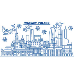 Poland warsaw winter city skyline merry vector