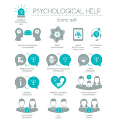 Psychological help set silhouette icons vector