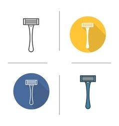Razor flat design linear and color icons set vector image