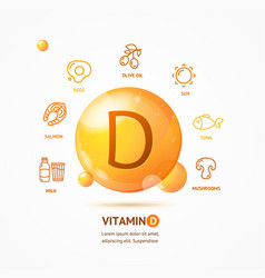 realistic detailed 3d vitamin d card concept vector image