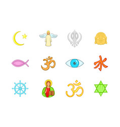 religion sign icon set cartoon style vector image
