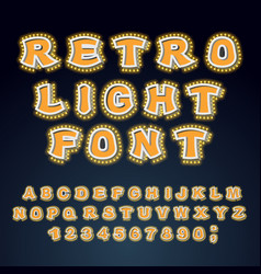 Retro light font glowing letters alphabet with vector