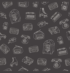 retro pattern with old tech radio typewriter vector image