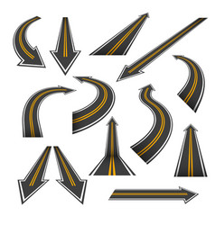 road arrow set arrow roads with yellow markings vector image