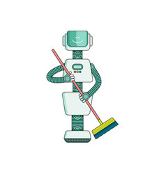 robot doing housework on cleaning house - sweeping vector image