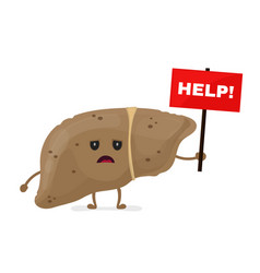 Sad unhealthy sick liver with nameplate help vector