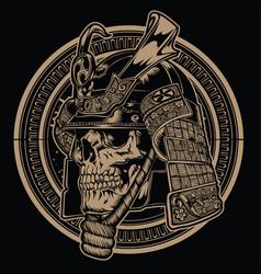 samurai warrior skull knight vintage japanese vec vector image