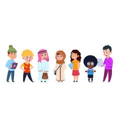 school kids international students cartoon vector image