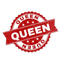 scratched textured queen stamp seal vector image