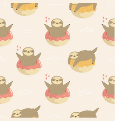 seamless pattern with cute sloths jumping of vector image