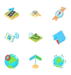 Search territory icons set cartoon style vector