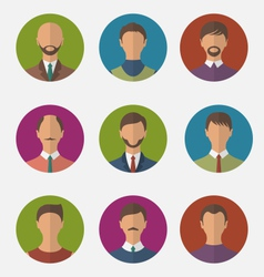 set colorful male faces circle icons trendy flat vector image