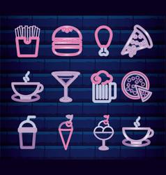 set fast food and beverage neon light label vector image