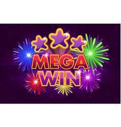 Set mega big win banner for lottery or vector