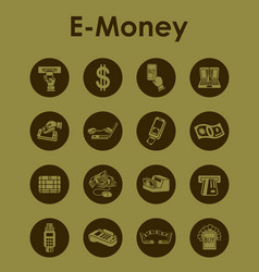 Set of e-money simple icons vector