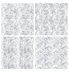 Set of four seamless pattern with abstract doodle vector