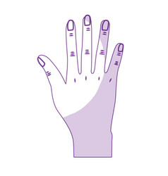 silhouette nice hand with all fingers and nails vector image