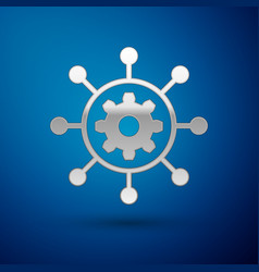 Silver project management icon isolated on blue vector