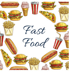 Sketch poster for fast food restaurant vector
