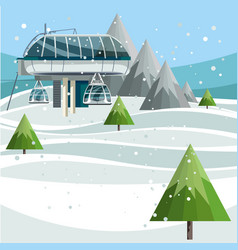 ski lift station on the top of the mountain vector image