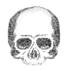 Skull silhouette from numbers 0 and 1 ascii art vector
