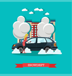 Snowdrift concept in flat vector