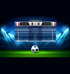 soccer football stadium spotlight and scoreboard vector image