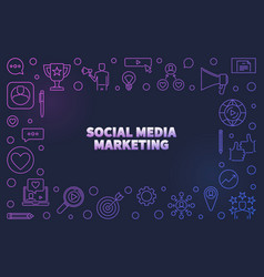 social media marketing colored linear vector image