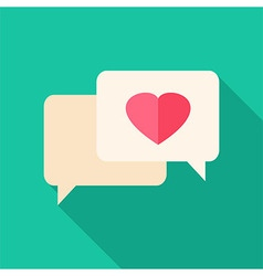 Speech bubbles with heart vector