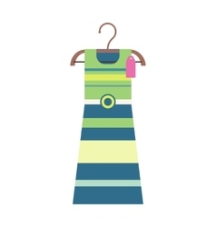 Striped dress on a wooden hanger vector