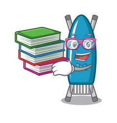 Student with book iron board mascot cartoon vector