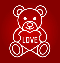 teddy bear with heart line icon valentines day vector image