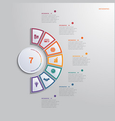 template for infographics with 7 text area vector image