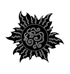 The sun is brightsummer rest single icon in black vector
