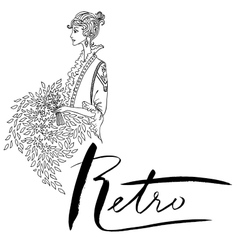 Uncolored Beautiful fashion woman Vintage style vector image