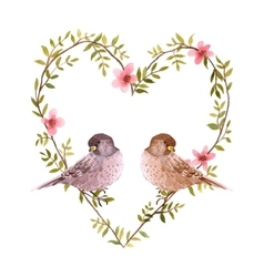Watercolor birds and heart of flowers vector image