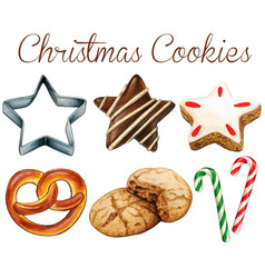 watercolro high quality christmas cookies vector image