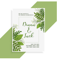 Wedding invitation card design in floral green vector