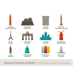 Western and northern europe cities landmarks vector