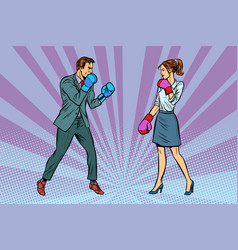 Woman boxing fights with man vector