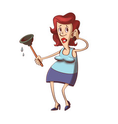 woman with plunger vector image