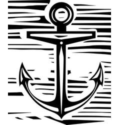 Woodcut anchor vector