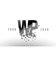 Wp w p pixel letter logo with digital shattered vector
