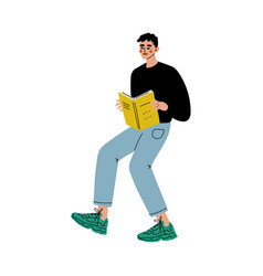 Young man reading book searching for information vector