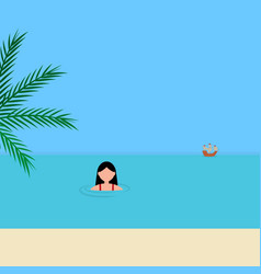 Young woman swims in sea on azure coast vector